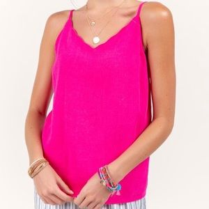 Francesca's Hot Pink Scalloped Tank Top